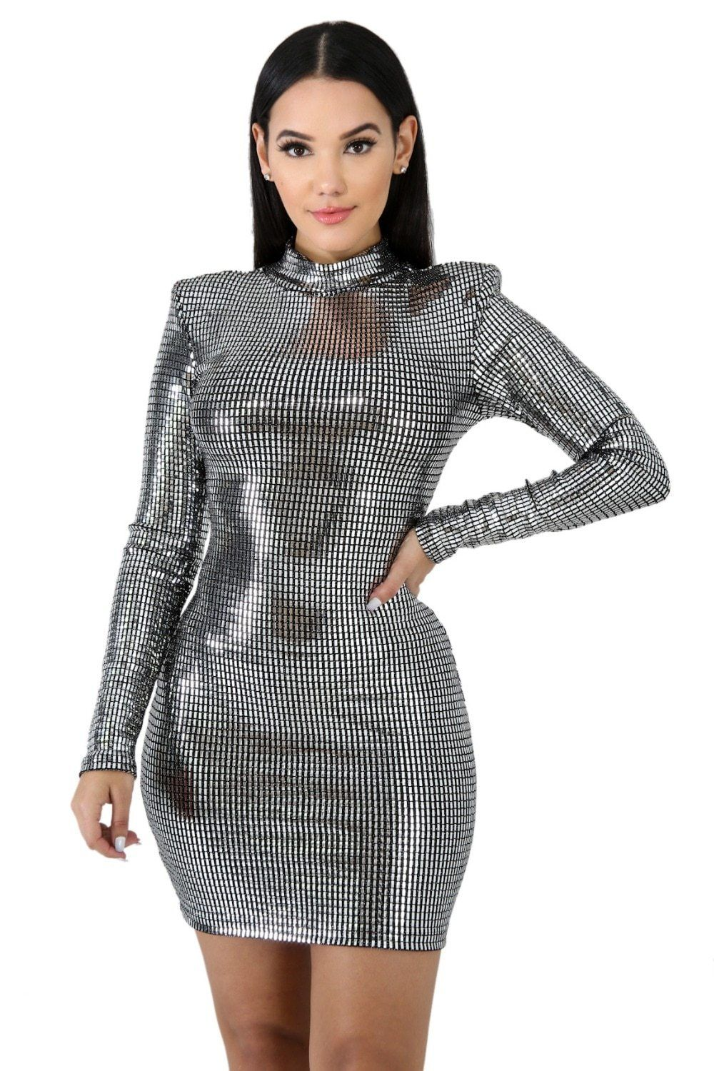 8fb2e921fcac Sequined Long Sleeve Sexy Mini Dodycon Dress Search shop in bio! Silver  Sequins Versatile Party Dress