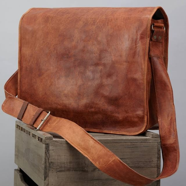 New Brown Tan Real Natural Leather Vintage Messenger Satchel Shoulder Bag