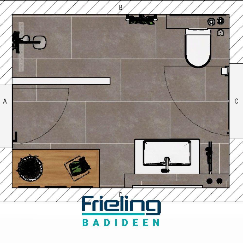 Das Badezimmer Mit Ebenerdiger Dusche 8 Qm Layout Badezimmer Grundrisse Planungen 2020