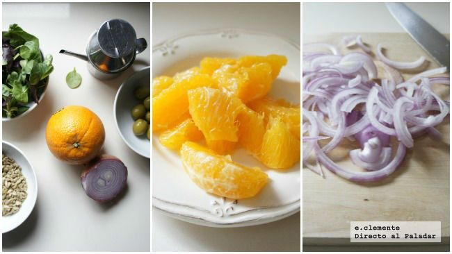 ensalada de naranja con aceitunas y cebolla morada