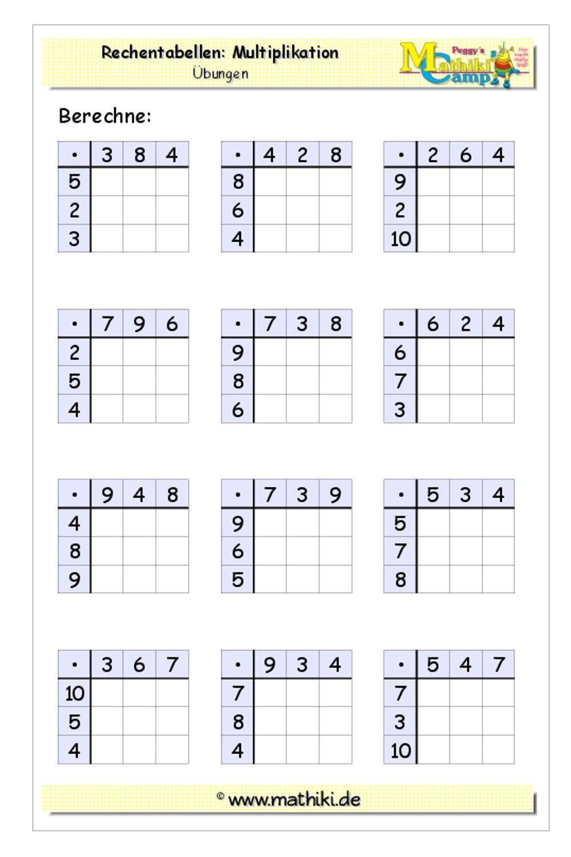 Rechentabellen Multiplikation (Klasse 3) - kostenloses Arbeitsblatt mit Lösungen als PDF-Download #math