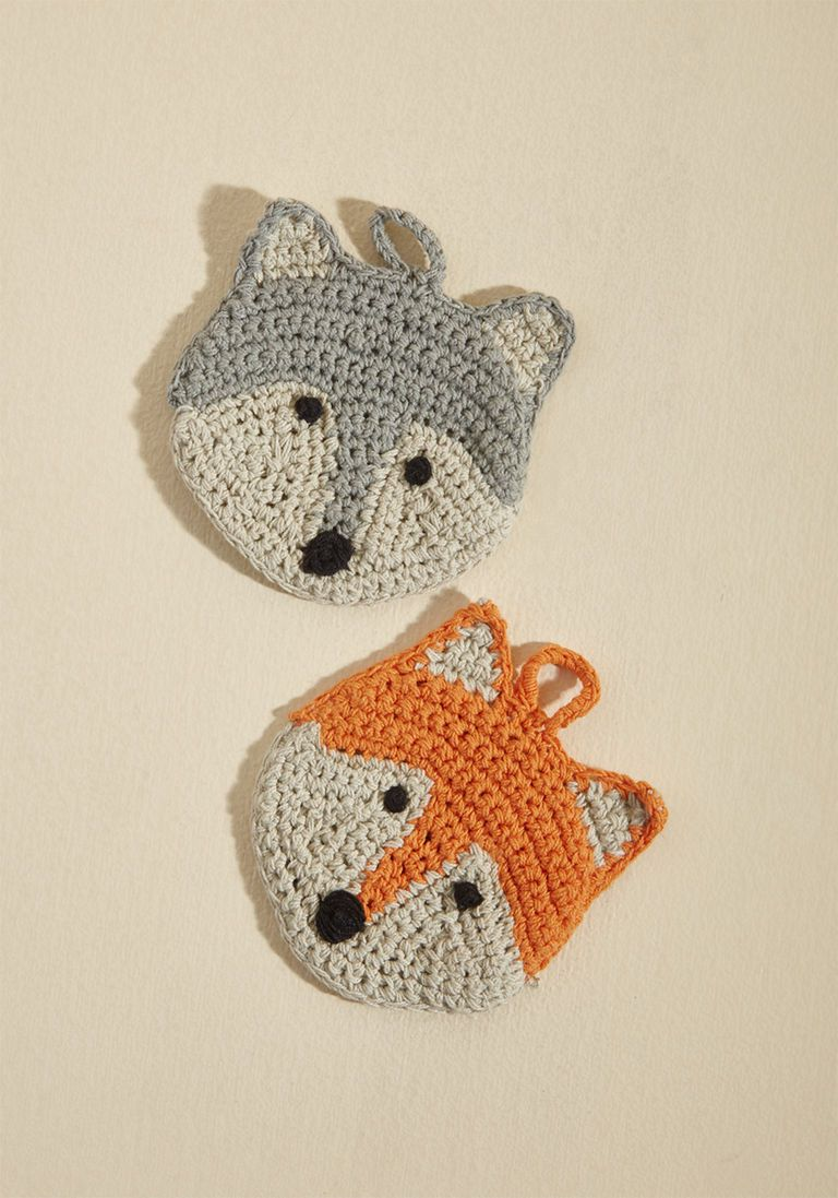 Cleaning Critters Cloth Scrubber Set in Foxes | Crochet, Crochet ...