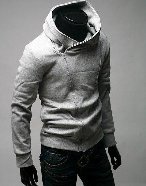 2011 Brand New Fashion Diagonal zipper Korean male fashion hooded sweater
