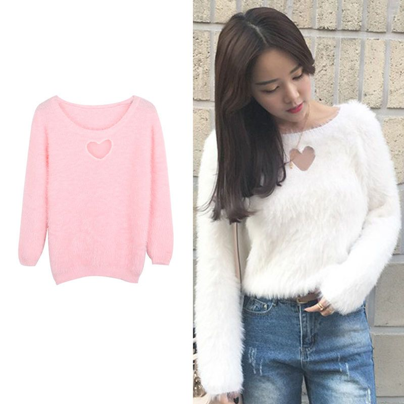 Hollow Out Heart Women Pullover Sweater Spring Autumn Long Sleeve Top Casual US $16.13