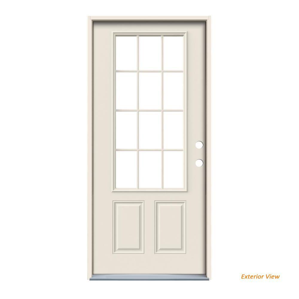 Jeld Wen 32 In X 80 In 12 Lite Primed Steel Prehung Left Hand Inswing Back Door Thdjw190900023 Steel Doors Exterior Back Doors Jeld Wen