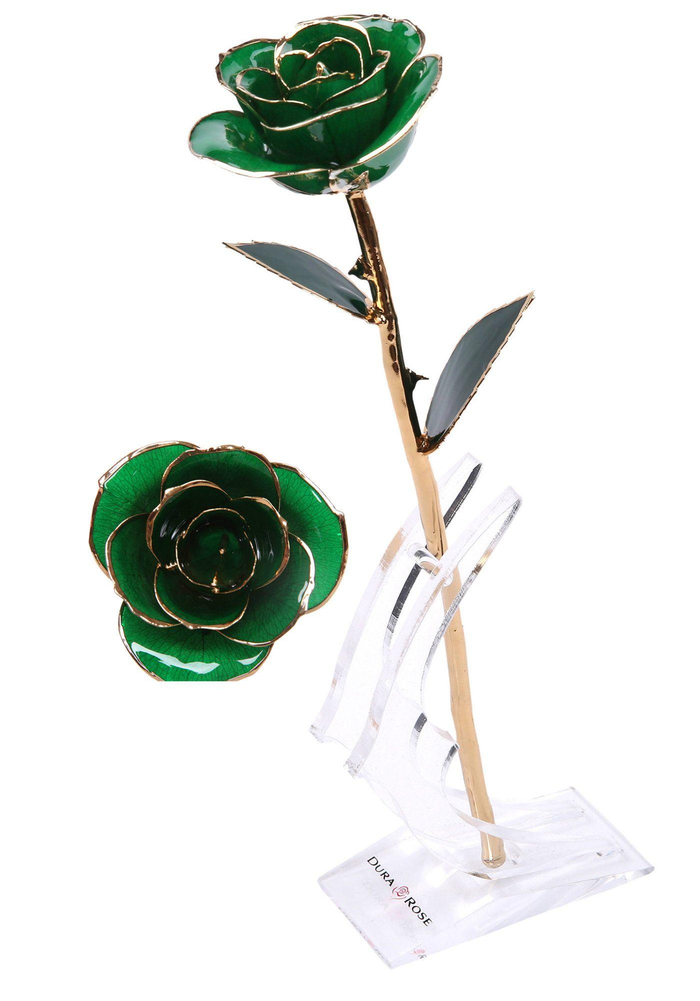 Durarose everlasting long stem green rose dipped in 24k