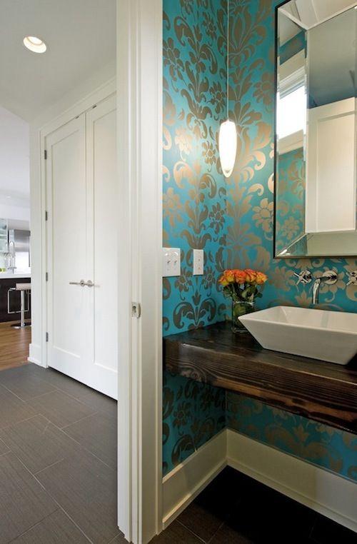How To Choose Bold Wallpaper For Your Bathroom Modern Powder Rooms Powder Room Design Room Design