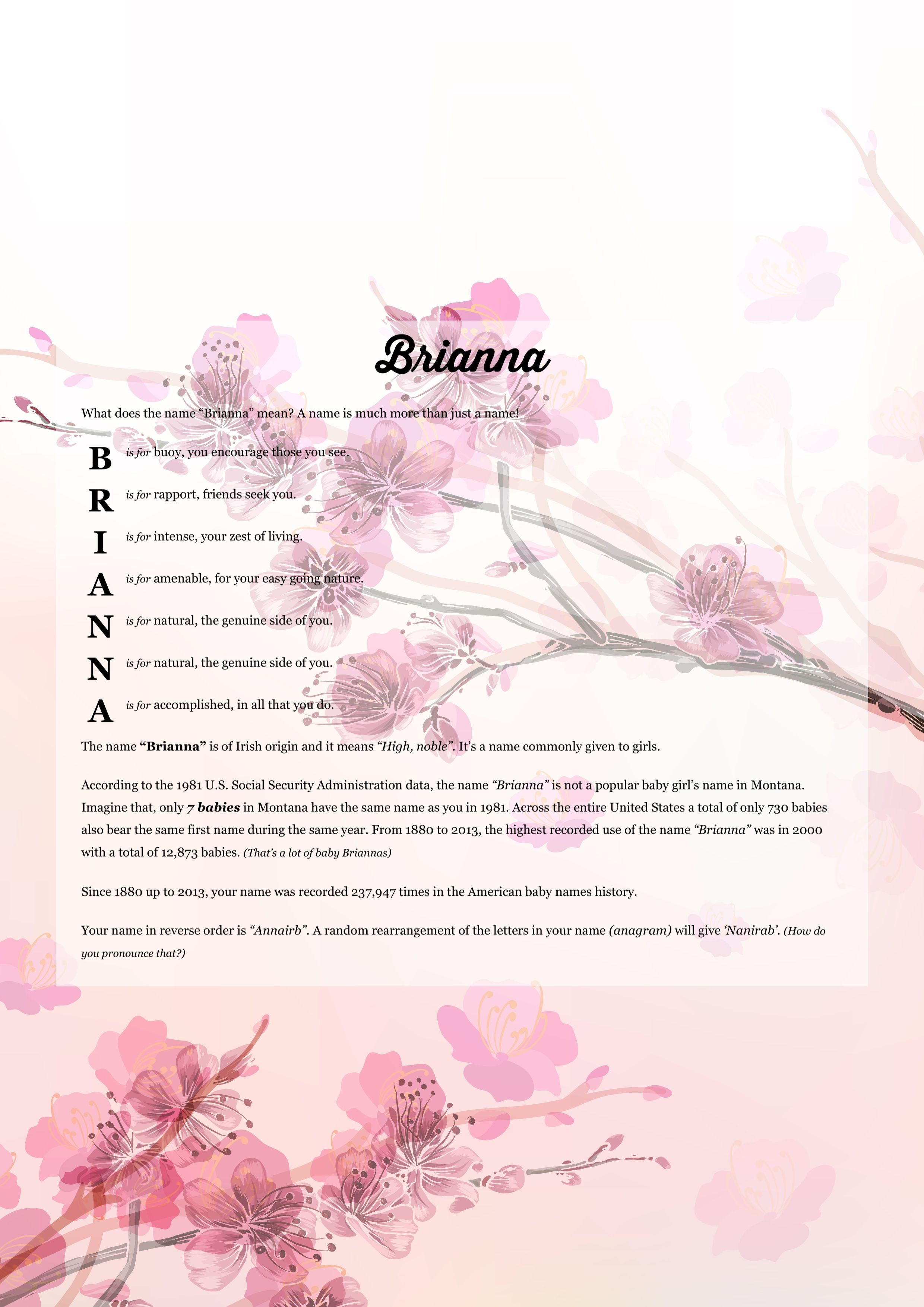The Namemeaning Of Brianna Using Cherry Blossom From The Project Pack Flowers Unique Giftideas And Perso Wall Quotes Decals Names With Meaning Wall Quotes
