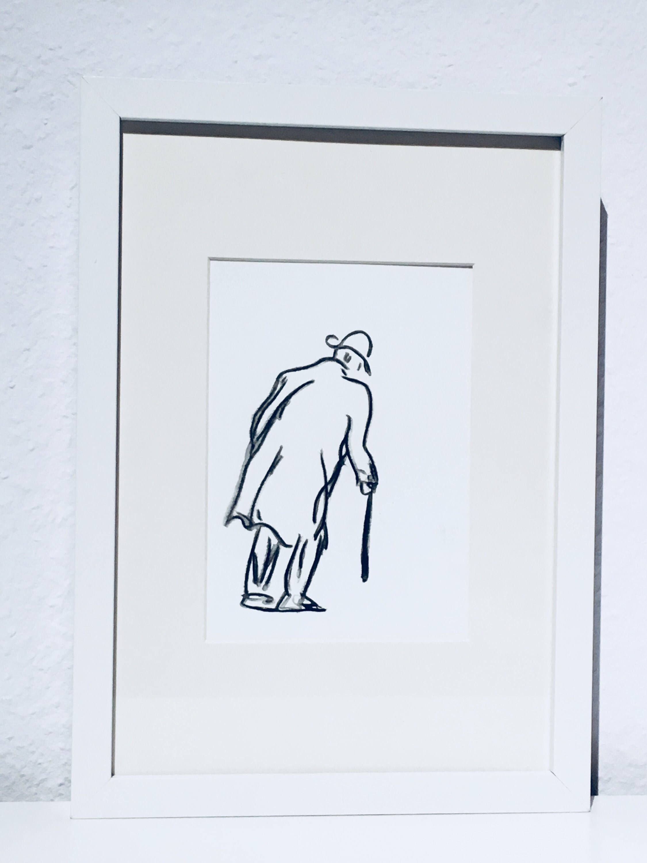 Aquarell Bild The Walk Mann Man Opa Grandfather Painting Picture