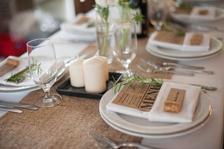 (Blue napkins, yellow/cream menus and place cards