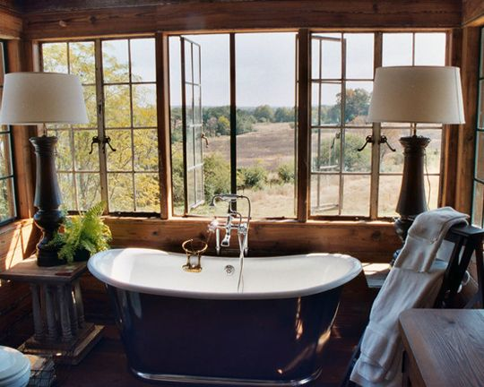 Lodge Style Bathroom With Countryside View