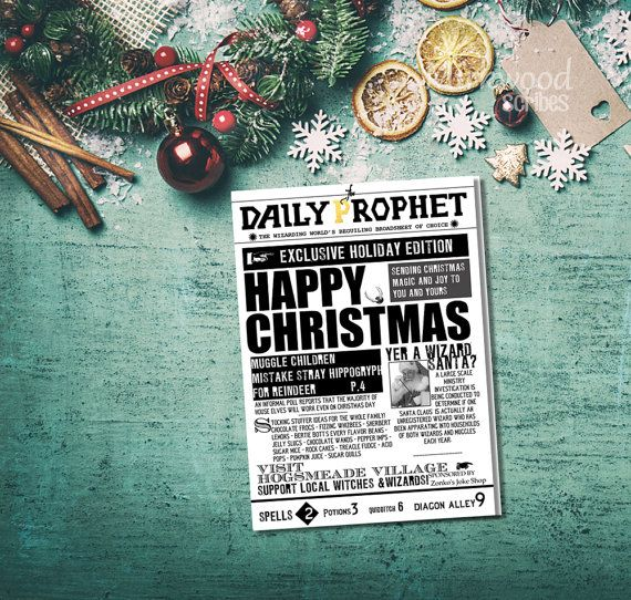 The Daily Prophet Christmas Card Instant By Mirkwoodscribes Happy Magic Christmas Cards Christmas Cheer