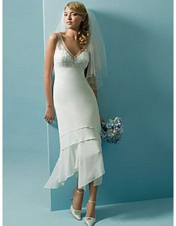 Lovely Simple Sheath V-neck Short Illusion Chiffon Wedding Dresses ...