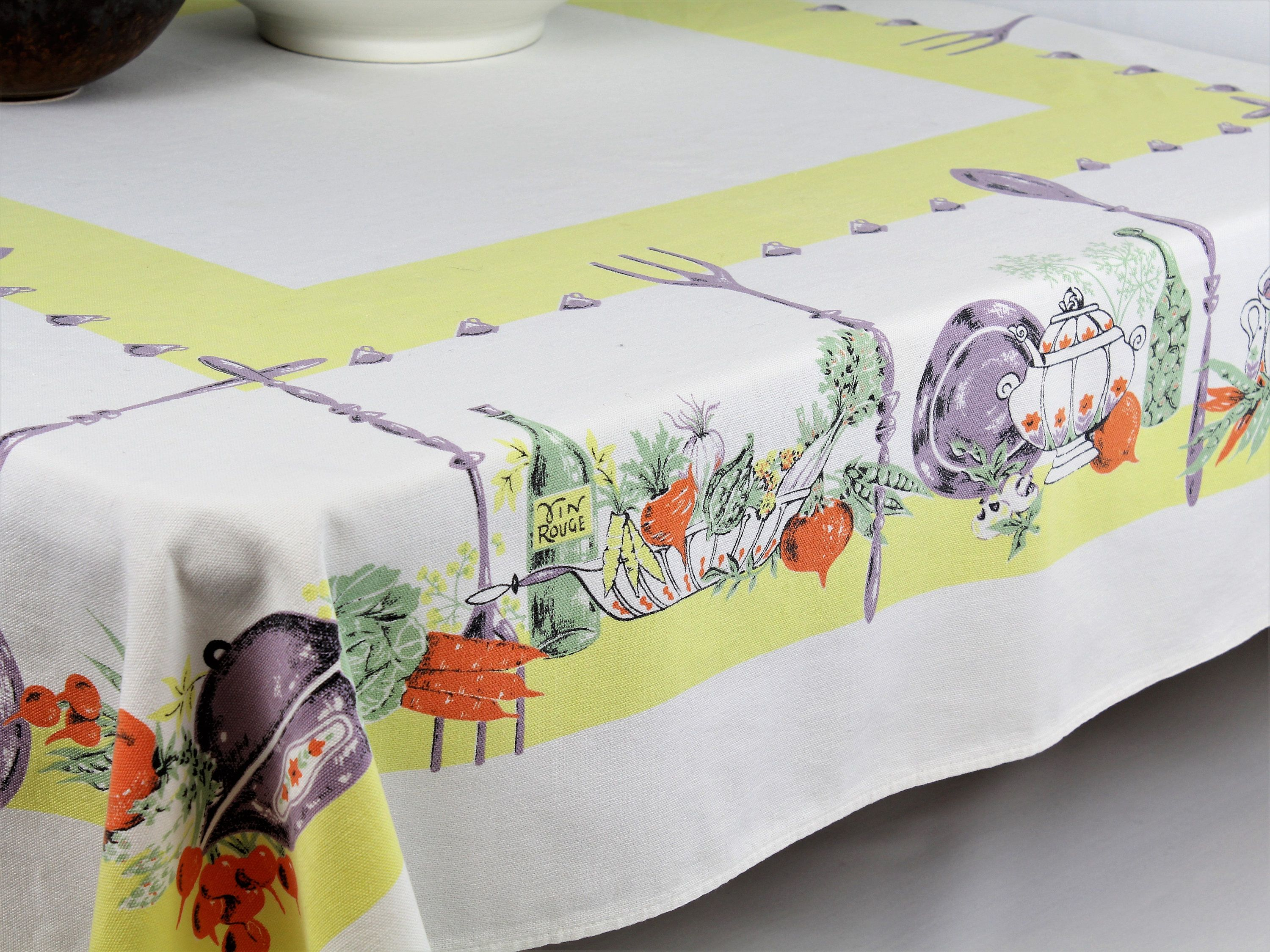 Retro tablecloth, rectangle tablecloth, vintage linens, kitchen ...