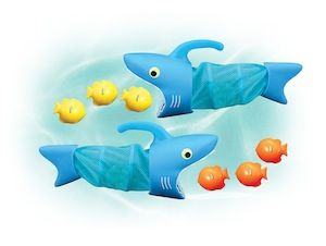 The Spark Shark Fish Hunt. Grab the handle of the Spark Shark net and swim through the pool to scoop up the fishy sinkers! Great for ages 6+ and is only $10.99!