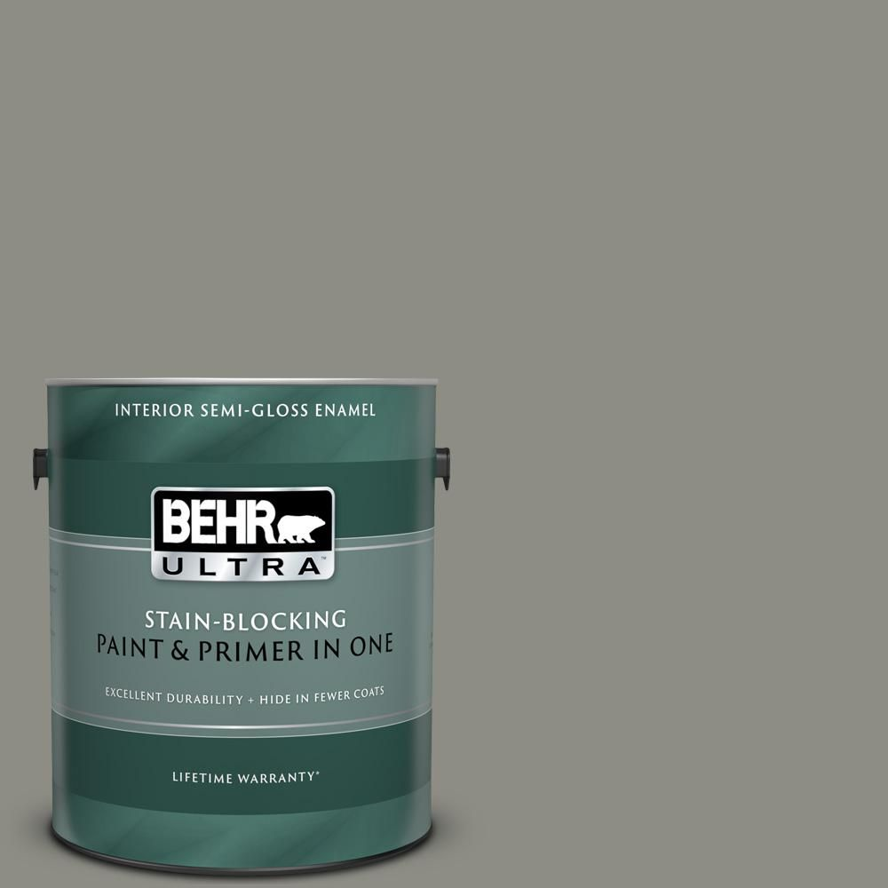 Behr Ultra 1 Gal N370 5 Incognito Semi Gloss Enamel Interior Paint And Primer In One Interior Paint Behr Paint Primer