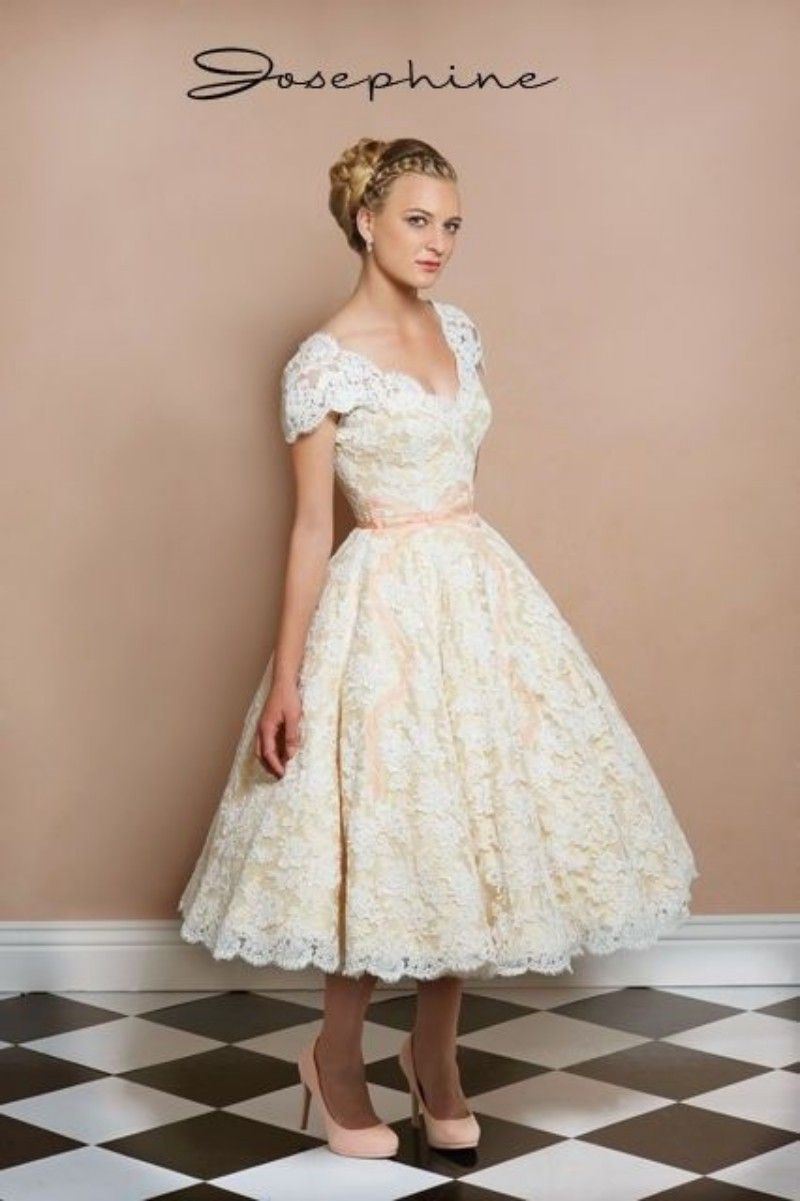 Tea length wedding dress champagne slash neck google for Champagne tea length wedding dresses