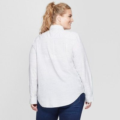 c0e56390 Women's Plus Size Long Sleeve Camden Button-Down Shirt - Universal Thread  Natural 2X, White