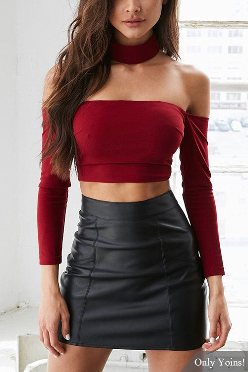 e67752e4b4de0f Burgundy Sexy Off Shoulder Crop Top with Long Sleeves - US 10.95
