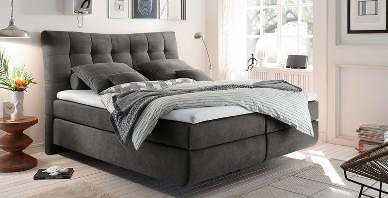 Boxspringbett Grau Weisse Schlafzimmermobel Schlafzimmermobel