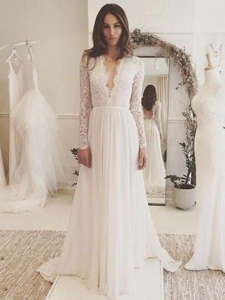 Chic A Line Wedding Dresses Long Sleeve V Neck Romantic