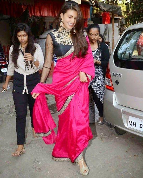 Jacqueline Fernandez in Pink Saree Stills at Sahiba Ltd ad Shoots in Mumbai