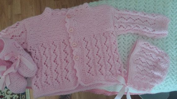 Pink Baby Sweater hat and booties 3-6 months. by BabyknitTreasures