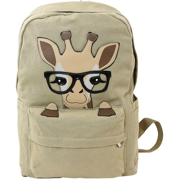 Sleepyville Critters Beige Baby Giraffe Canvas Backpack ($21) ❤ liked on Polyvore featuring bags, backpacks, brown bag, brown backpack, brown canvas bag, strap backpack and zip bag