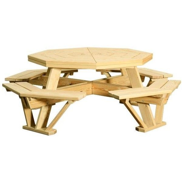 Amish Yellow Pine Wood Octagon Picnic Table (895 SGD) ❤ liked on