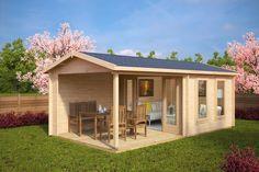 Gartenhaus Mit Terrasse Nora E 9m 44mm 3x6 Hansagarten24 Garden Log Cabins Garden Cabins Large Backyard Landscaping