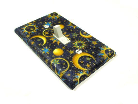 Blue Celestial Decor Light Switch Cover Sun Moon Stars Bedroom Bathroom Decoration