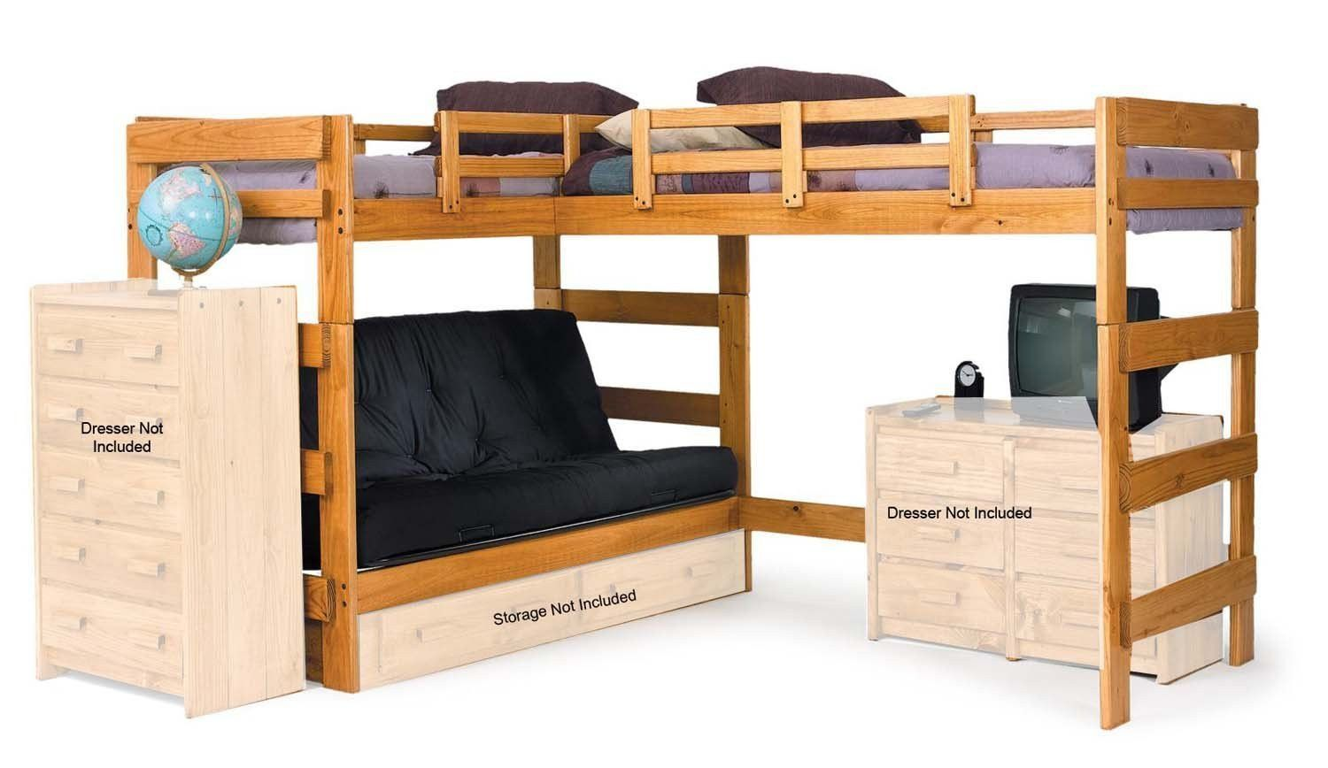 Incredible Jace L Shaped Loft Bed With Futon Bunk Bed With Desk L Uwap Interior Chair Design Uwaporg