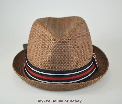 Mens Summer Fedora Brown Stripe Band Cuban Style Upturn Short Brim Hat-S M 9711a1a6955