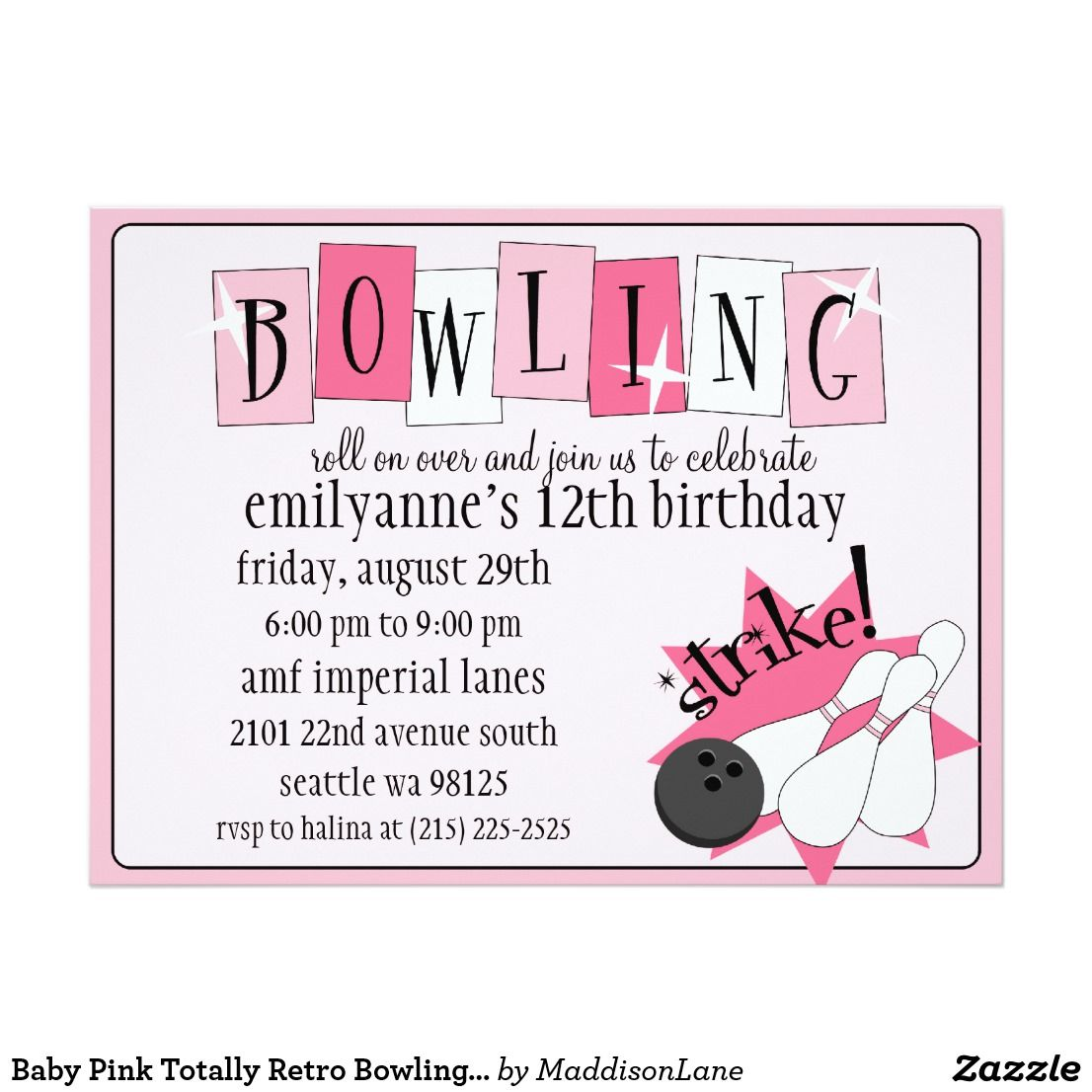 Baby Pink Totally Retro Bowling Birthday Party Card Baby Pink ...