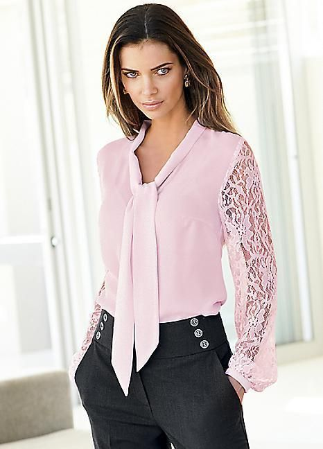 Ladies lace sleeve soft pink pussy bow blouse size 12 BNWT RRP £49 in Clothes…