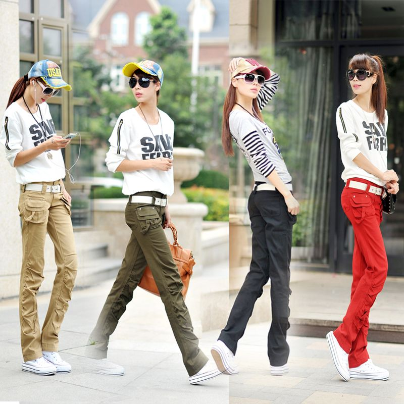 khaki cargo pants women Autumn overalls candy straight women's ...