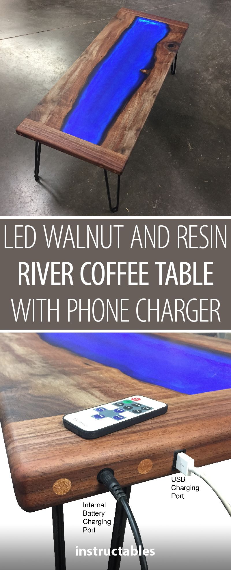 Led Lit Walnut And Resin River Coffee Table That Charges Your Phone