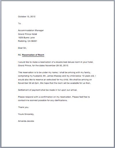 Hotel Confirmation Letter Sample