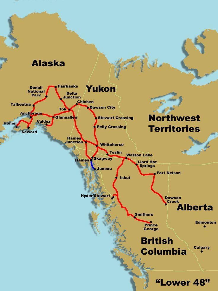 Alaska 60 Day Route Map Alaska Reise Alaska Reisen