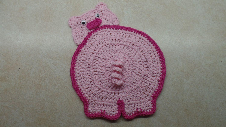 Easy Crochet Piggy Butt Hog Potholder Pattern Crochet Pattern By
