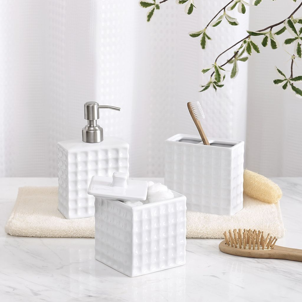 Madison Park Waffle 3 Piece Bath Accessory Set|Designer Living ...