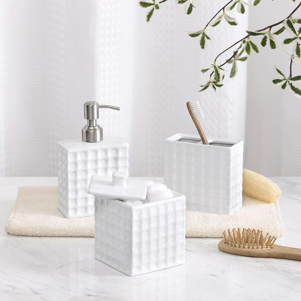 Madison Park Waffle 3 Piece Bath Accessory Setdesigner Living Cool Bathroom Accessory Set Design Inspiration