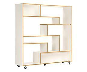 boekenkast op wielen southbury wit h 143 cm