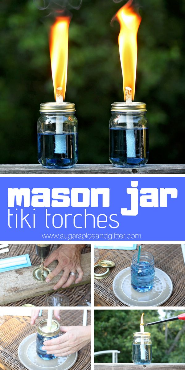 DIY Tiki Torches is part of Mason jar crafts diy - Make these easy mason jar tiki torches in a variety of scents and colors and revel in your bugfree patio this summer! We made ours blue with peppermint scent!