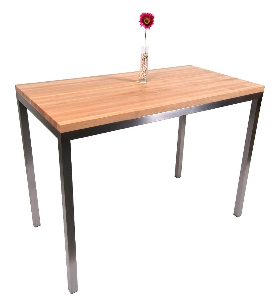 Boos Maple Stainless Steel Metropolitan Center ButcherBlockCo - Stainless steel table with butcher block top