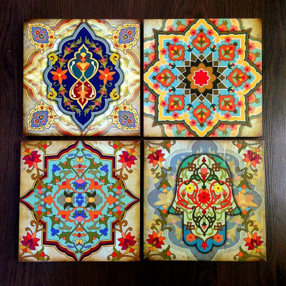 Wonderful Hamsa Hand Moroccan Wall Art Set Wooden Blocks 8x8 Set By Ajobebe