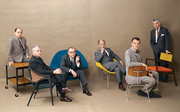 The furniture icons: George Nelson, Edward Wormley, Eero Saarinen, Harry Bertoia, Charles Eames and Jens Risom in Playboy mag, 1961.