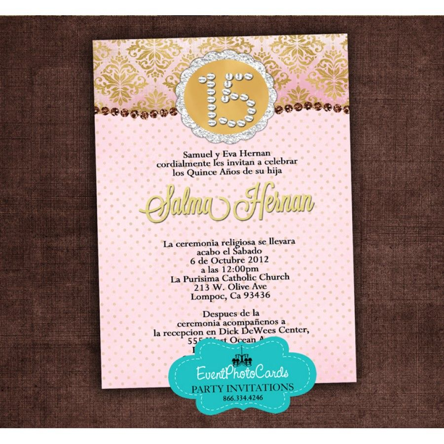 Sweet 15 Invitations Pink Gold Blush pink and gold quinceanera