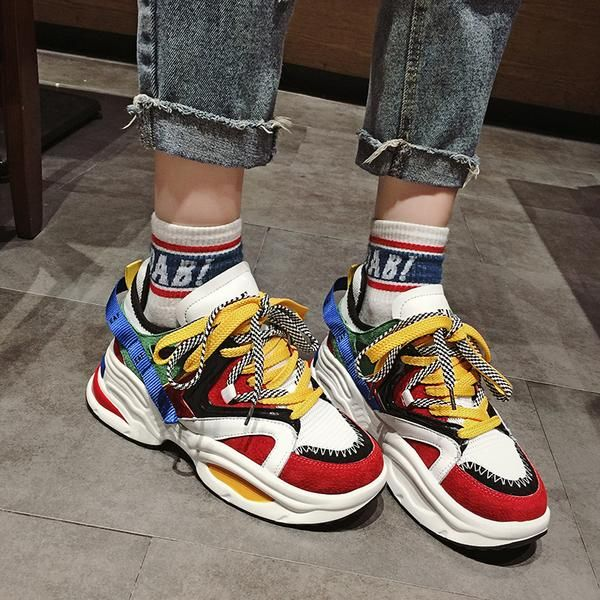 EAF EXCLUSIVE CHUBBY PLATFORM SNEAKER IN MULTI COLOR is part of Platform sneakers - Platform Height Low (2cm3cm) Lining Material Synthetic Upper Material Split Leather + Fabric
