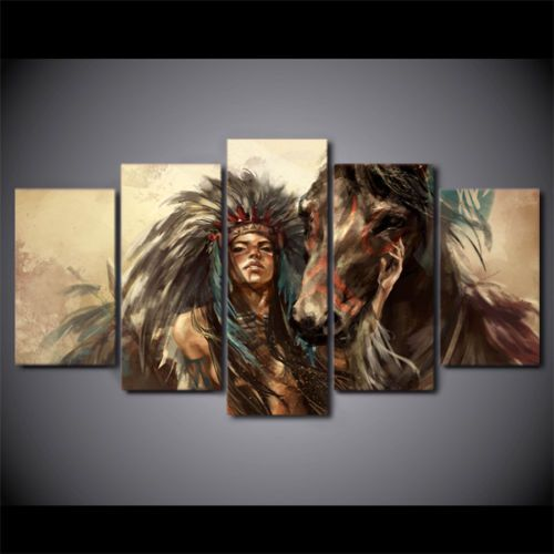 American Indian Girl 5pcs HD oil Painting Printed Canvas Wall Art ...